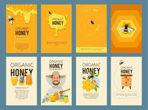 Vector cards with illustrations of apiary. Pictures of honey, beehive and waxing. Beekeeping and sweet golden honey royalty free illustration