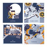 Vector cards set dedicated to filming, movie making and cinematographer profession. Square designs template with directors chair,. Filmstrip, backstage mirror stock illustration