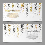 Vector cards with silver, gold, black serpentine, ribbon, dust confetti  on white background Royalty Free Stock Image