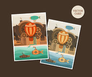 Vector cards steampunk Royalty Free Stock Images