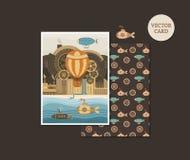 Vector cards steampunk Stock Photos