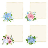 Vector cards with various blue and pink flowers. Set of four vector beige cards with pink and blue forget-me-not flowers, pansies, lisianthus and plumbago Stock Photos