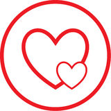Vector careful heart icon. Red and white. Simply change Stock Images