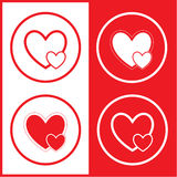 Vector careful heart icons. Red and white. Simply change Stock Photography