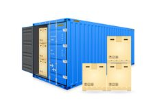 Cargo container vector. Vector of cargo container or shipping container for logistics and transportation work isolated on white background stock illustration