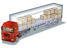 Vector cargo semi-truck Stock Images