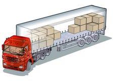 Vector cargo semi-truck Stock Images
