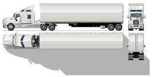 Vector cargo semi-truck. Vector illustration delivery/cargo truck  [ for branding ]. Available AI-10 separated by  groups (with transparecy option oh shadows) Stock Photo