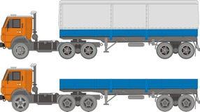 Vector cargo semi-truck. Vector illustration KAMAZ truck modifications. Include EPS-8 Stock Photos
