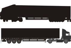Vector cargo semi trucks. Vector semi-truck silhouettes. Available CDR-9 format Stock Photography