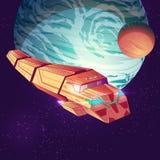 Vector cargo spaceship on big planet background. vector illustration
