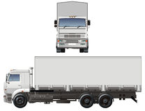 Vector cargo truck. Vector illustration cargo truck KamAZ-65117 isolated on white background. Available AI-10 vector format separated by groups and layers for Stock Photos