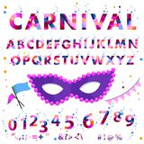 Vector carnival alphabet colorful sticker alphabet with number and plus, minus, division, multiplication, quotation. Marks, equals. Set of characters uppercase royalty free illustration