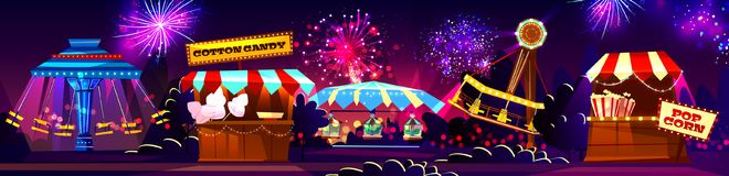 Vector carnival concept, circus entertainment, travelling festival royalty free illustration