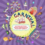 Vector carnival invitation design. Depicting a Big Top  fire eater  carousel  ferris wheel  funfair  masks  dancer  guitar and rattles with central copyspace Stock Photography