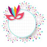 Vector carnival mask with feathers. Carnival poster, banner with. Colorful party elements - mask, fireworks. Festival concept design Royalty Free Stock Images
