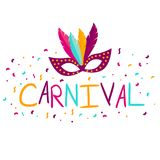 Vector carnival mask with feathers. Carnival poster, banner with. Colorful party elements - mask, confetti, stars and splashes. Festival concept design Royalty Free Stock Photography