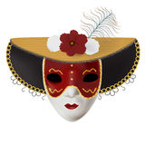 Vector carnival mask with flowers and feathers. Invitation to carnival with colorful shiny background and venetian red mask. Stock Photos