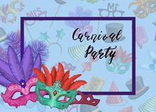 Vector carnival masks in frame with party accessories background. Vector carnival masks in frame corner with party accessories background and lettering Stock Photography