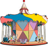 Vector carousel with horses and machines Stock Photography