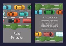 Vector cars on the road with grass and trees on the sidelines top view card or flyer template Royalty Free Stock Photos