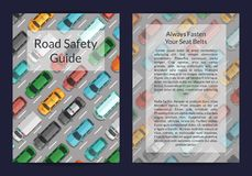 Vector cars on the road top view card or flyer template. Illustration of card road traffic royalty free illustration