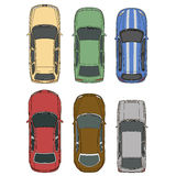 Vector cars set top view Royalty Free Stock Images