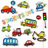 Vector cars stickers. Funny kids sticker art. All objects are isolated stock illustration