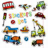 Vector cars stickers. Funny kids sticker art. All objects are isolated royalty free illustration