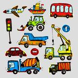Vector cars stickers. Funny kids sticker art. All objects are isolated vector illustration