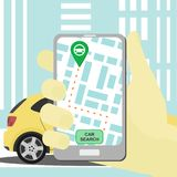 Vector carsharing concept with smartphone and car sharing app vector illustration
