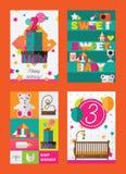 Vector cartões verticais com família e caçoa objetos para o convite e a comemoração de eventos do aniversário, da festa do bebê e ilustração stock