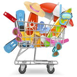 Vector Cart with Beach Accessories Stock Photos