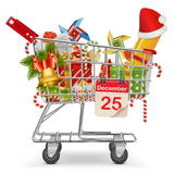 Vector Cart with Christmas Decorations Stock Images