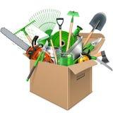Vector Carton Box with Garden Accessories Stock Photo