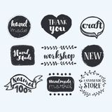 Handmade, crafts workshop, made with love icons. Vector carton set of freehands lable: Handmade, crafts workshop, made with love icons royalty free illustration