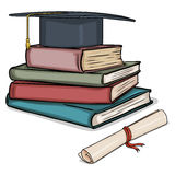 Vector Cartoon Academic Hat on Stack of Books and Diploma Stock Image