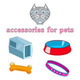 Vector cartoon accessories for animals. Cat, bowl, collar, carrier animal bone Stock Photography