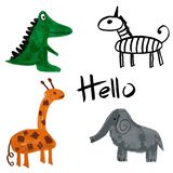 Vector Cartoon African Animals with Hello Lettering. Elephant, Crocodile, Giraffe, and Zebra. Hand Drawn Illustration. Original Design for Children stock illustration