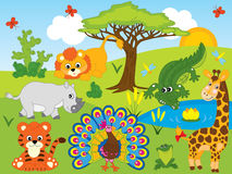 Vector Cartoon African Animals Set Royalty Free Stock Photo