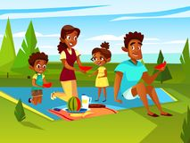 Vector cartoon african family at picnic party stock illustration