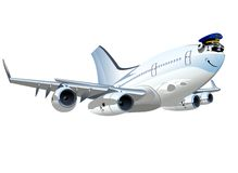 Vector Cartoon Airliner Stock Images
