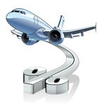 Vector Cartoon Airliner with discount percentage simbol. Stock Photo
