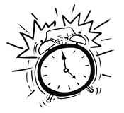 Vector Cartoon  of the Alarm Clock Ringing. Cartoon vector illustration of classic alarm clock ringing in 5am  in the morning Stock Photos