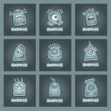 Vector cartoon aliens and monsters set. Vector cartoon flat aliens and monsters set Stock Photos