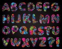 Alphabet Psychédélique 3d font, bold psychedelic colorful alphabet. illustration 42985792