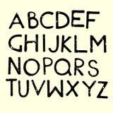 Vector Cartoon Alphabet Letters. Black Grungy Vector Cartoon Letters. English Alphabet Stock Photos