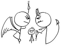 Vector Cartoon of Angel  and Devil Arguing Fighting about Man. Cartoon vector of angel and devil fighting arguing disputing about the man in background and Stock Photography