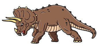 Vector Cartoon Charging Angry Triceratops. A vector cartoon of an angry triceratops charging and ready to fight stock illustration