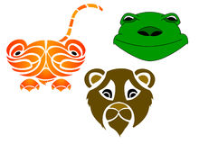 Vector - Cartoon Animal. Vector elements of 3 types of animal's head vector illustration
